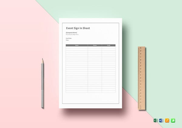 Event Sign In Sheet Word Template