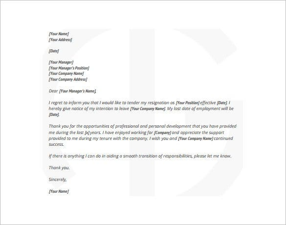 Resignation letter templates 18 free sample example format employee resignation sample letter pdf format download spiritdancerdesigns