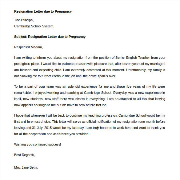 example immediate resignation letter due to pregnancy
