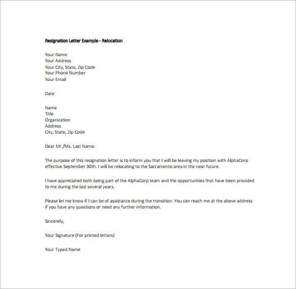 Resignation letter templates 18 free sample example format sampleandtemplate there are innumerable free sample relocation resignation letters pdfs available online they can be downloaded and used as it is by expocarfo Choice Image