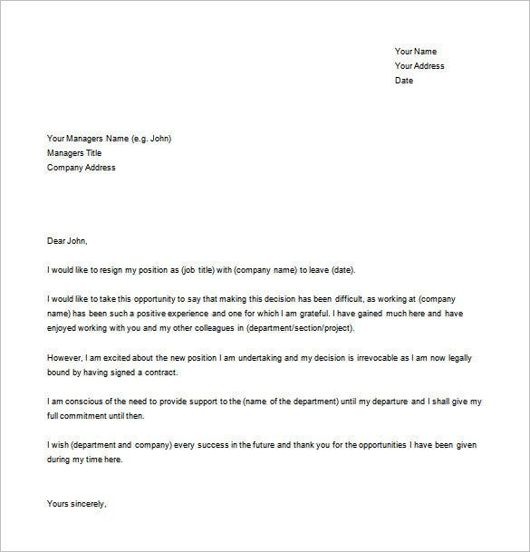 sample resignation letter for new job free download