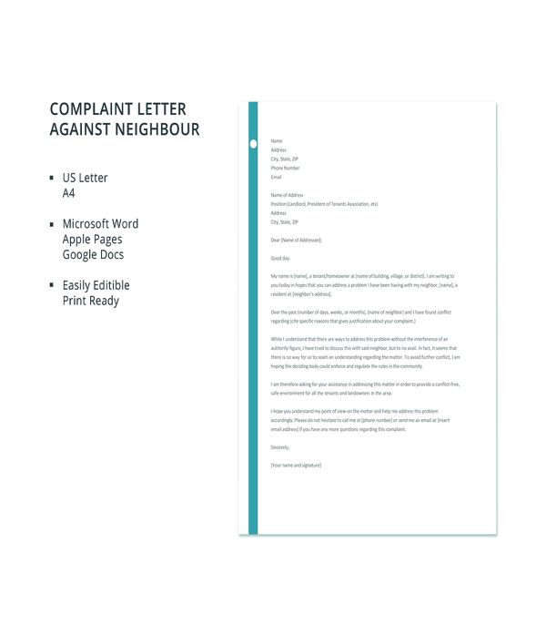 free-complaint-letter-against-neighbour-template