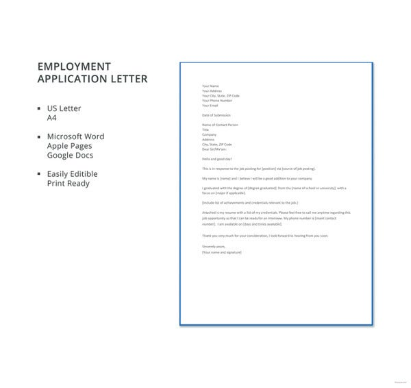Letter Of Employment Templates  Free Sample Example Format