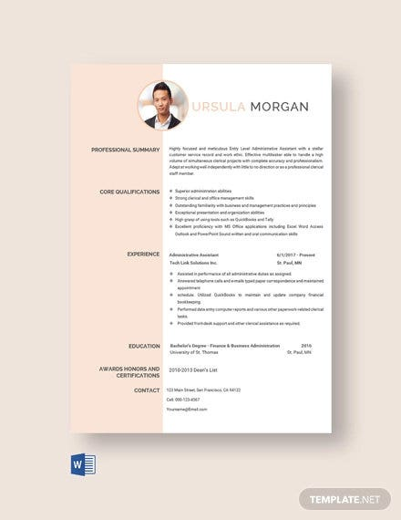free experienced administrative assistant resume template