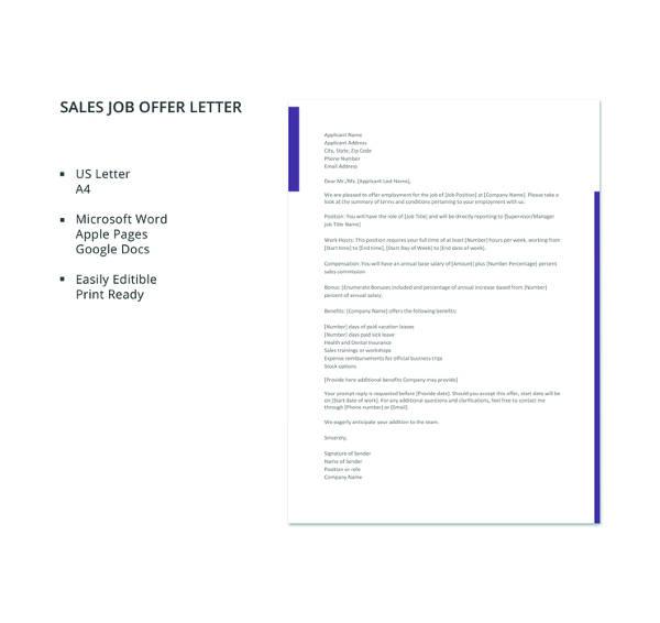 10 sales letter templates free sample example format download free sales job offer letter template details file format altavistaventures Choice Image