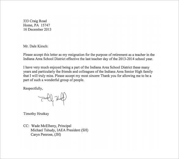 Free Teacher Resignation Letter To Principal Pdf D