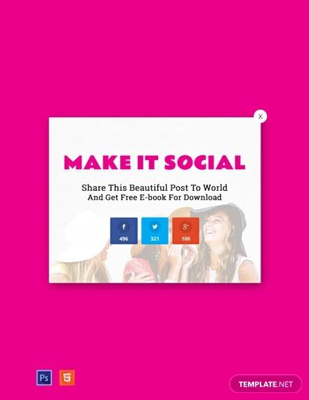 free website social media sharing pop up template