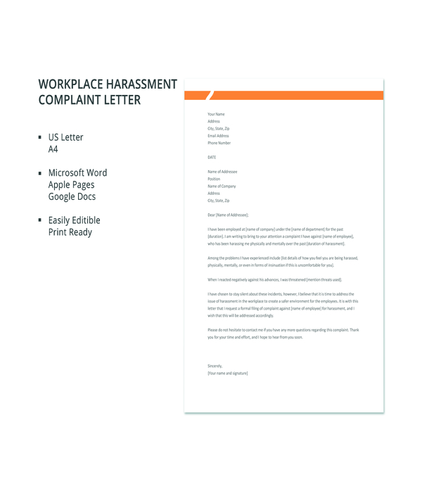 free workplace harassment complaint letter template