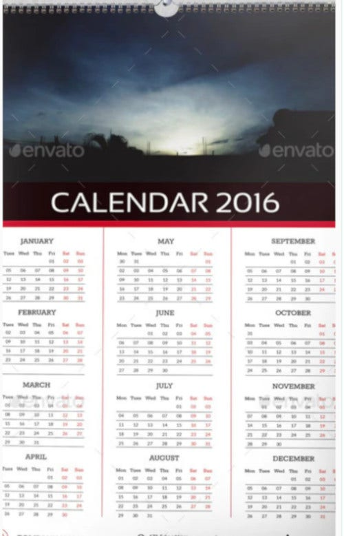 fresh wall 2016 calendar template ai illustrator1