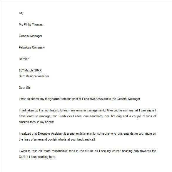 funny resignation letter example template to manager