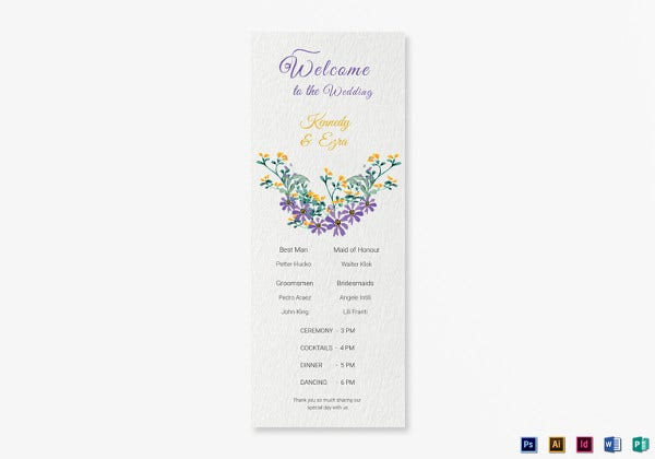 garden wedding program card indesign template
