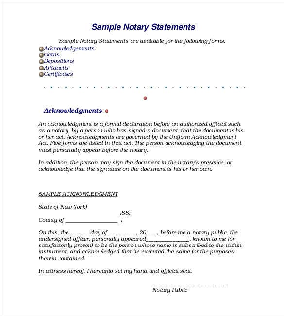 how to write a notary statement