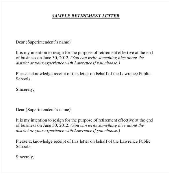 Retirement Letter Templates   Free Sample Example Format