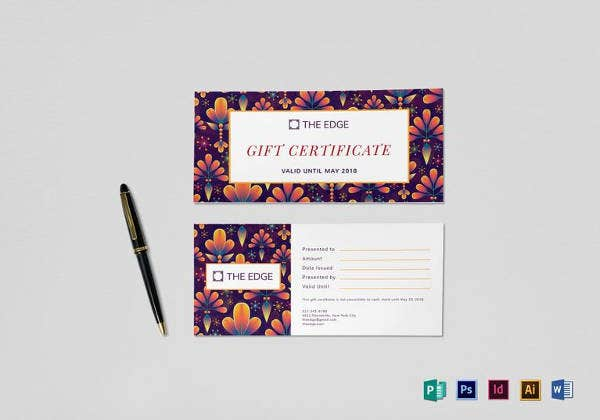 gift certificate in psd design template