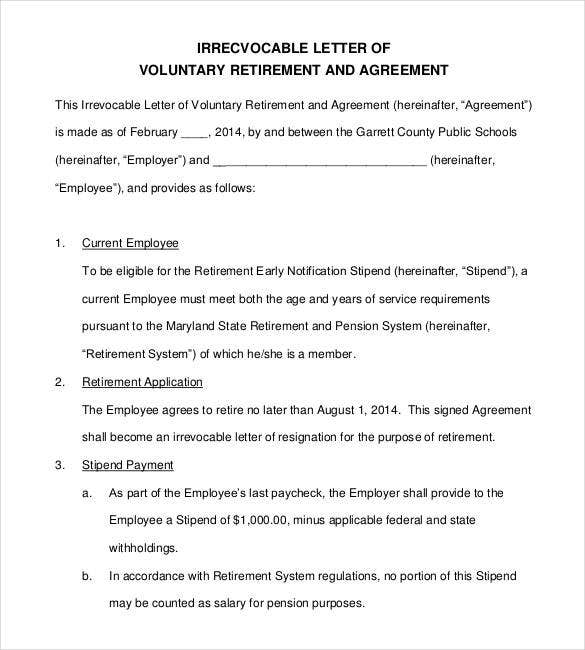 Great Letter Of Voluntary Retirement Agreement
