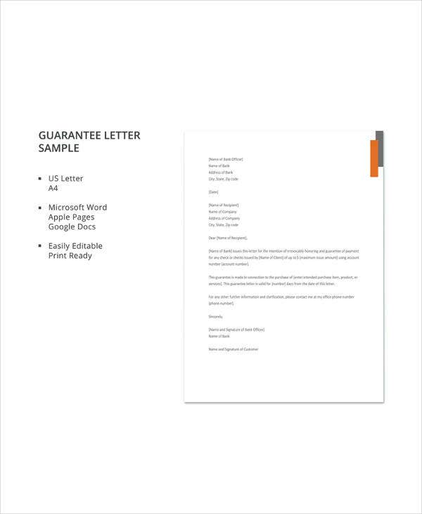 11 sample letters of guarantee pdf word apple pages google guarantee letter sample details altavistaventures Image collections