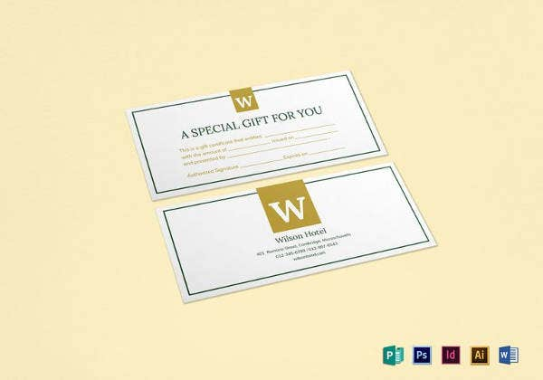 hotel gift certificate template to print