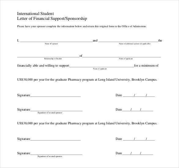 International Student Letter Of Financial Support Sponsorship