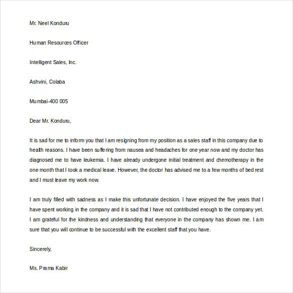 job resignation example letter due to health reason