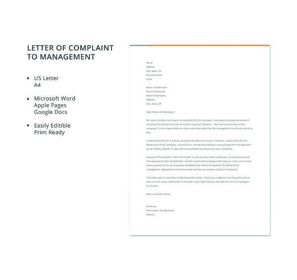 letter of complaint to management template