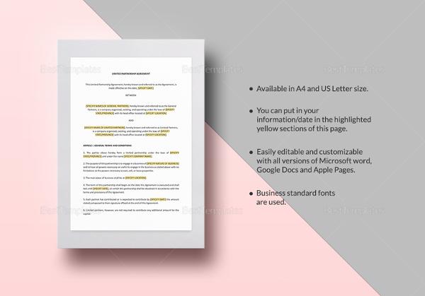 partnership agreement template microsoft word