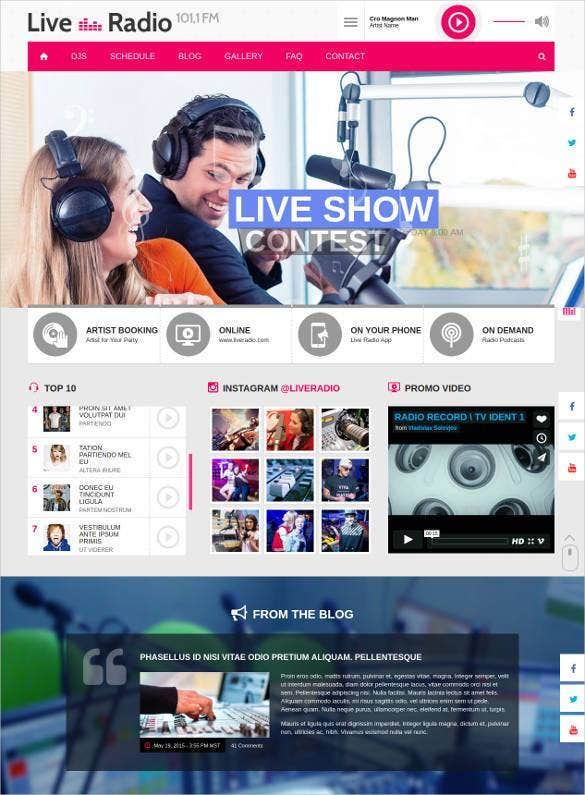live radio responsive html5 website template1