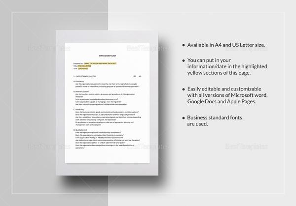 management-audit-checklist-template