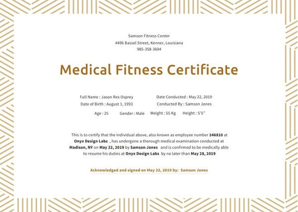 Fitness gift certificate templates 11 free word pdf documents medical fitness certificate template yelopaper Gallery