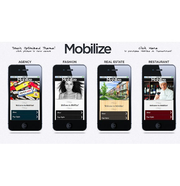 mobilize touch optimized mobile template