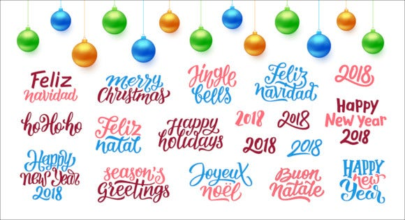new year lettering and greeting cards designs