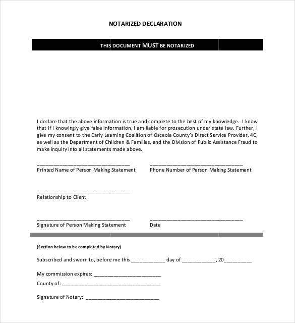 notarized declaration letter download
