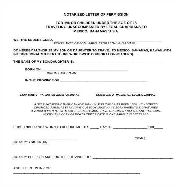 Notarized letter templates 27 free sample example format notarized letter of granting permission altavistaventures Choice Image