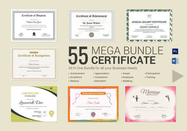 printable certificate bundle includes doc psd