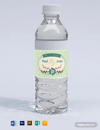 printable wedding water bottle label template