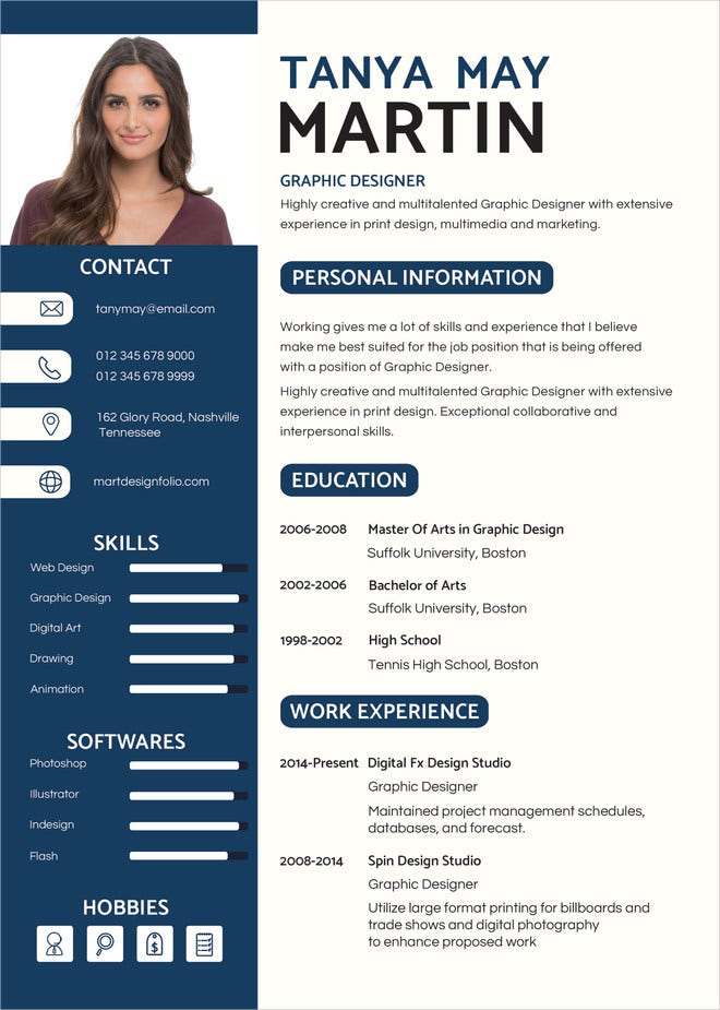 Professional Graphic Designer Resume InDesign Template  Professional Graphic Design Resume