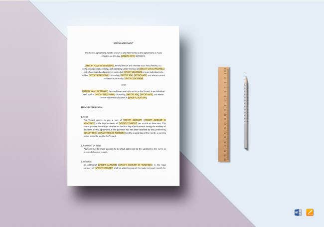 rental agreement template - Free Rental Agreement Template