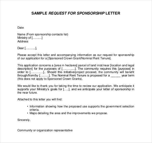 Request For Sponsorship Letter In PDF  Letter Of Sponsorship Template