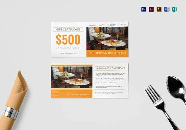 restaurant gift certificate template in psd