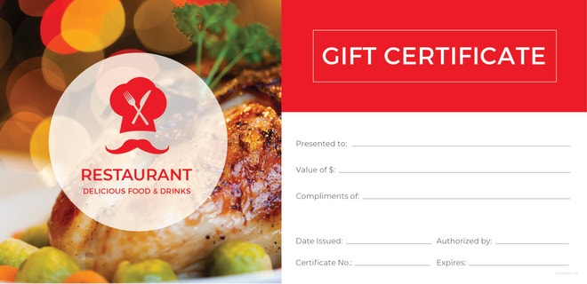 Restaurant Gift Certificate Templates Free Sample Example - Restaurant gift certificate template