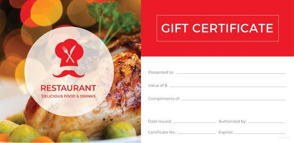 20 restaurant gift certificate templates free sample example restaurant gift certificate template free download yelopaper Choice Image