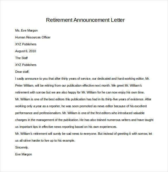 36 retirement letter templates pdf doc free premium templates professional retirement announcement letter spiritdancerdesigns Image collections