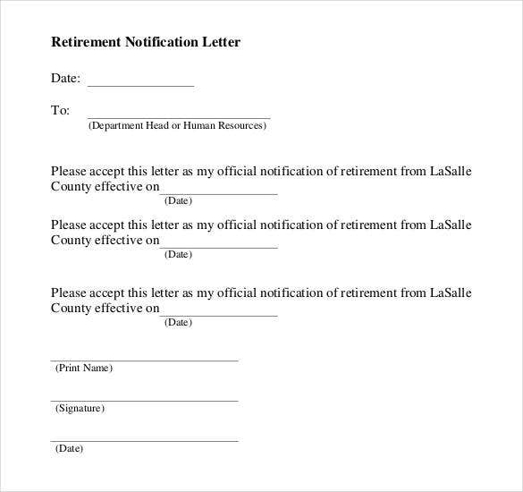 Retirement Notification Letter Sample