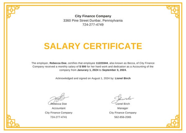13 salary certificate template free word excel pdf psd free salary certificate from employer template thecheapjerseys Gallery