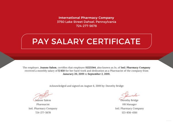 Salary Pay Certificate