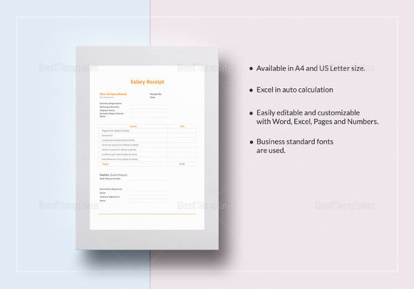 salary receipt template in ipages