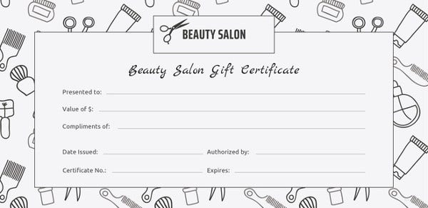 155 gift certificate templates free sample example for Free printable hair salon gift certificate template
