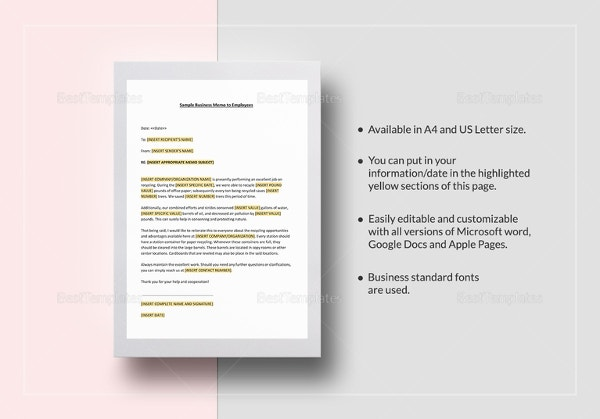 sample business memo to employees template
