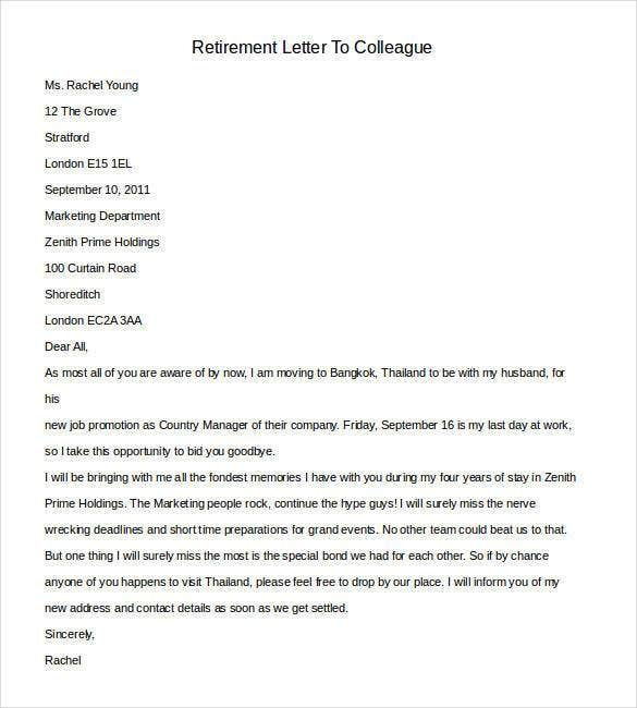 Sample Letter To Work Colleagues Resignation