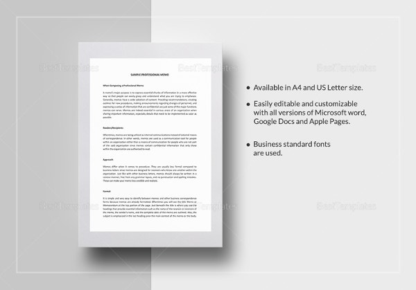 sample professional memo template
