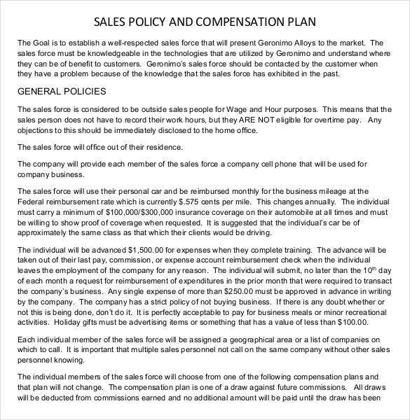 Sales plan template 23 free sample example format for Sales compensation plans templates